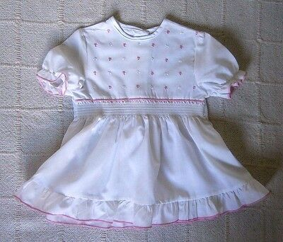 Vintage Baby Dress - Age- 12/18 months -White/ Pink embroiderd - Poly/Cotton-New