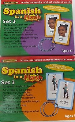 Spanish in a Flash Sets 2 & 3 Flash Cards English and Spanish with Photos