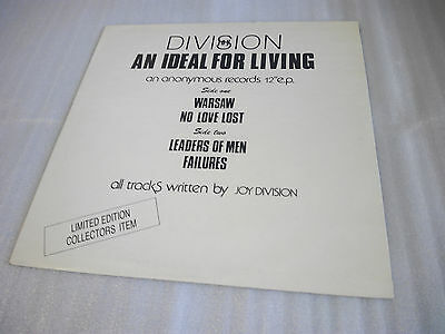 """JOY DIVISION – An Ideal For Living Vinyl 12"""" EP Ltd Edition Anonymous Records"""