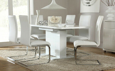 Osaka & Perth Extending High Gloss Dining Room Table and 4 6 Chairs Set -White