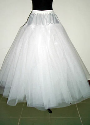 New White 4-Layers Tulle Hoopless Wedding Dress Underskirt/Underdress Petticoat