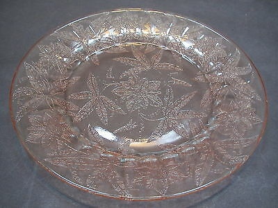 "Vintage Jeannette Glass pink floral/Poinsettia 9""D dinner plate-excond"