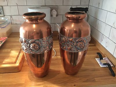 Pair Of Large Beldray Solid Copper Vases