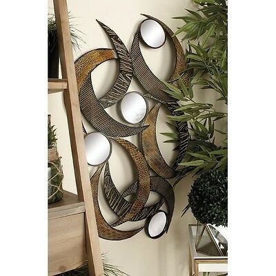 Wall Mirror Large Hanging Metal Sculpture Home Decor Kitchen Entryway Art Plaque
