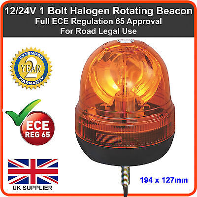 12/24v Amber Beacon Single 1 Bolt Emergency Rotating Recovery Flashing Light Van