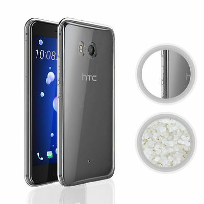 For HTC U11 Thin Transparent Soft Gel TPU Protective Case Cover + Tempered Glass