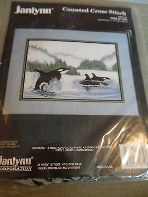 """Janlynn Counted Cross Stitch Kit 'Free at Sea' Whales 14"""" x 9"""" NEW"""