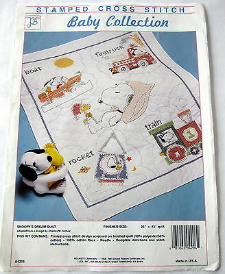 Peanuts SNOOPY'S DREAM Stamped Cross Stitch Baby Quilt Crib FABRIC ONLY 35x43