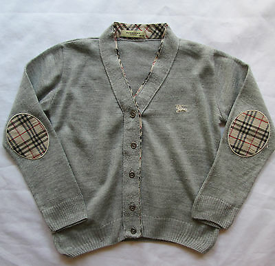 burberry grey cardigan check elbow patches 104 to 110 suit age 5 designer