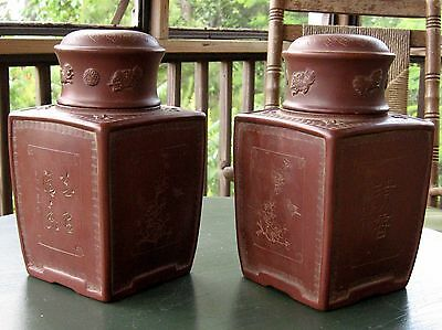 Pair of Very Beautiful Chinese Sand Clay Zi Sha Tea Caddies.
