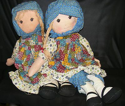 """2) Vintage 25"""" Holly Hobbie Dolls From Knickerbocker -Pre-Owned- See Pics"""