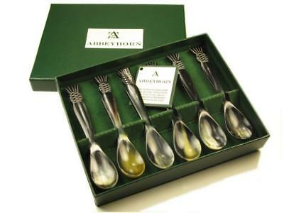 Lovely Set of Six Polished Horn Egg Spoons With Scottish Thistle End
