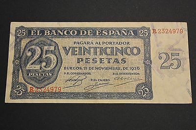 1936 25 Pesetas Burgos Spain Banknote Billete Vf+/mbc+