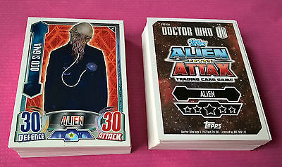 Bulk Job Lot of 100 Different Doctor Who Alien Attax Base Trading Cards Joblot