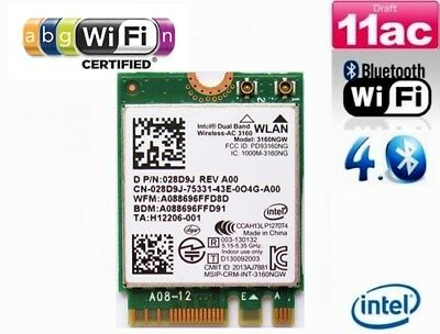 + Intel® Wireless-AC 3160 Dual Band 433 Mbit/s WLAN+Bluetooth PCI Express M.2 +