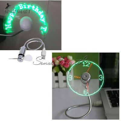 LED Mini Clock Fan USB 2.0 Cooling Flashing Real Time Display Function Portable