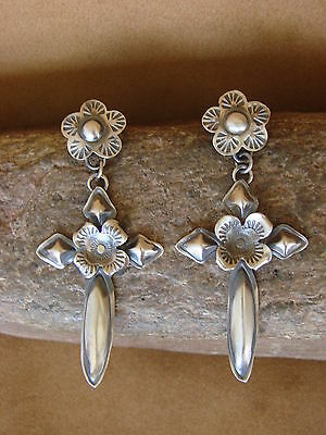 Navajo Indian Jewelry Sterling Silver Hand Stamped Cross Earrings! by Yazzie