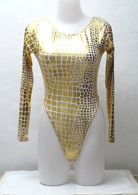 New White Gold Metallic Long Sleeve Thong Leotard for Women size 10 Small