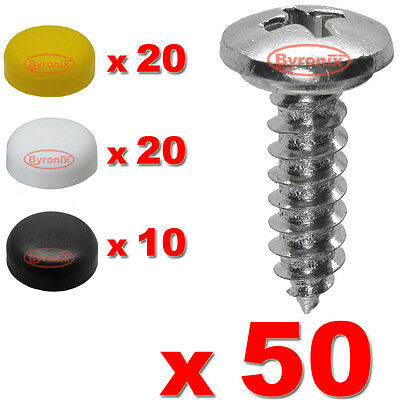 Number Plate Self Tapping Screws And Caps Fitting Fixing Kit Car X 50 - Quality