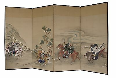 Vintage  Japanese Byobu Screen Samurai Battle Painting