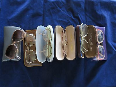 LOT of 6 Vintage 1980's eyeglass frames with lenses and cases