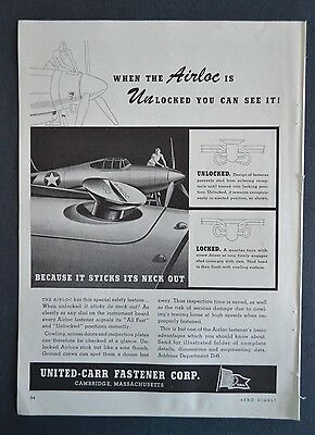 1943 UNITED-CARR FASTENER CORP. - TURCO Products  - WW2 Vintage Print Ad WWII