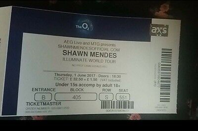Shawn Mendes Illuminate Tour Ticket O2  Arena 01/06/2017