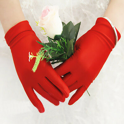 Womens Short Gloves Satin Stretch Wedding Opera Evening Party Dress Prom Gloves