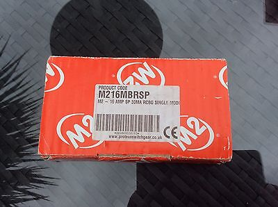 M2 - 16 Amp SP 30MA RCBO Single circuit Breaker  New in box