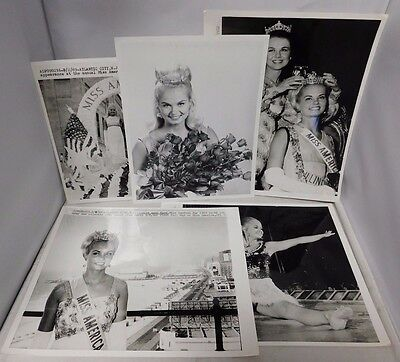 Judith Anne Ford Miss America 1969 Lot Of 5 Original B&W Wire Photos Rare