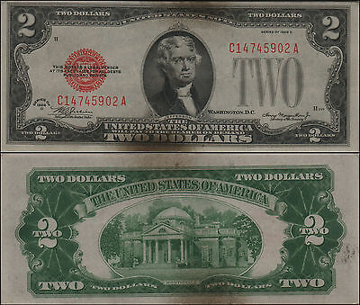 1928D $2 Dollar Bill Old Us Note Legal Tender Paper Money Currency Red Sl Y144