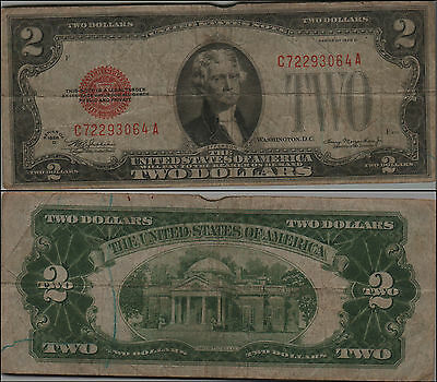1928D $2 Dollar Bill Old Us Note Legal Tender Paper Money Currency Red Sl Y147