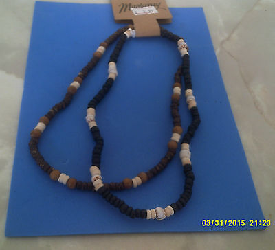 MENS SURF JEWELLERY NECKLACE set of 2 black multi & brown mul one sz elasticated