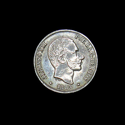 1885 Philippines 10 Centimos Silver Coin High Grade Fantastic Details! Spanish