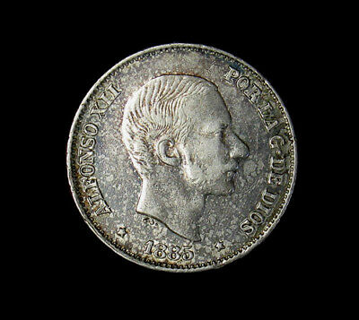 1885 Philippines 50 Centimos Silver Coin About Unicirculated AU