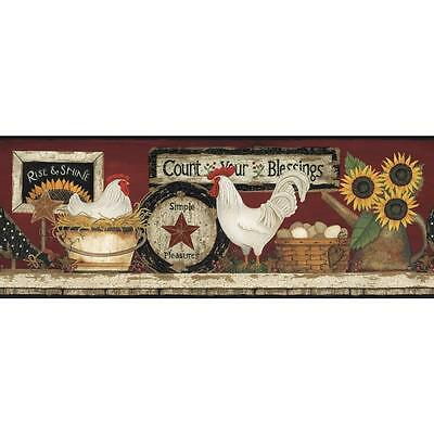 York Wallcoverings Hearts & Crafts CB5538BD Hen And Rooster Border, Red