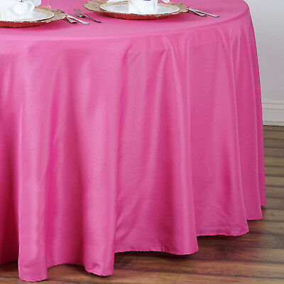 "6 pcs Fuchsia 90"" ROUND POLYESTER TABLECLOTHS Trade Show Booth Decorations SALE"