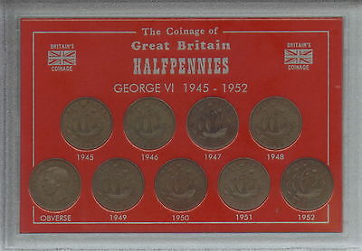 1945-1952 King George VI Halfpennies Halfpenny Coin Old Coinage Gift Type Set