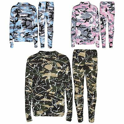 Kids Lounge Suit Girls Camouflage Splash Print Jogging Suit Tracksuit 7-13 Years