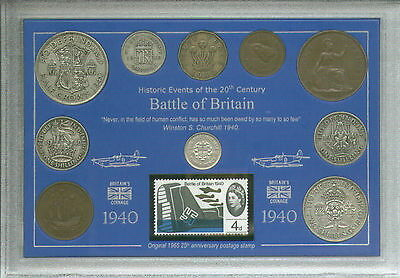 Battle of Britain Vintage RAF WWII Veteran Remembrance Coin Stamp Gift Set 1940