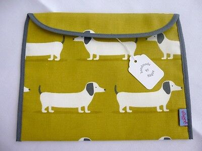 Handmade Baby Health Red Record Book Holder 'Sausage Dog'  - Fully Lined - BNWT
