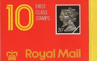 GB QEII 1990 Barcode Cylinder Booklet - 10 x 1st Cl (20p) Stamps JD1