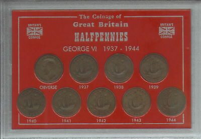 1937-1944 King George VI Halfpennies Halfpenny GB Coin Collector Gift Type Set