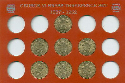 Set of Seven Brass Threepences (EF to UNC) 1937 1941 1942 1943 1944 1945 & 1952