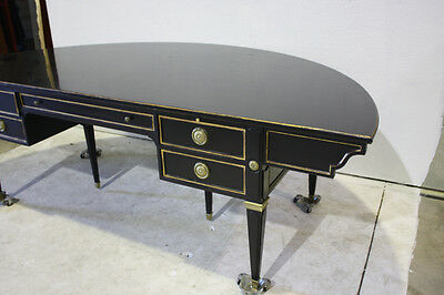 Beautiful authentic Maison Jansen Large Demilune ebony Desk circa 1950's