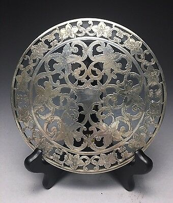 "Fine 6"" Vintage Webster Sterling Silver Over Glass Trivet"