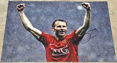 """Ryan Giggs Signed 12"""" x 8"""" Colour Photo Manchester United"""