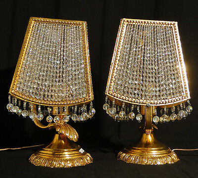 Antique French empire style bronze and cristal table lamp