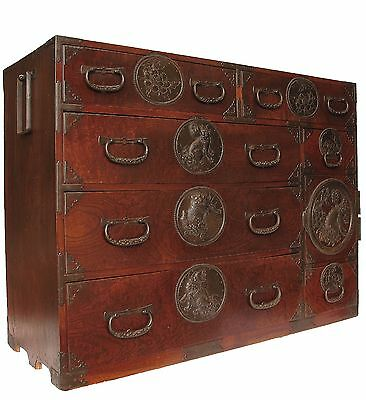 Antique Japanese Sendai Lacquer Tansu with Shishi Chest Cabinet Furniture