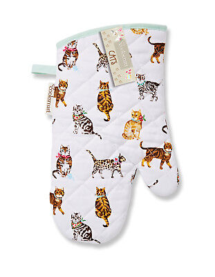 Cooksmart Cats On Parade Single Oven Gauntlet Glove Mitt Cotton Insulated Cook